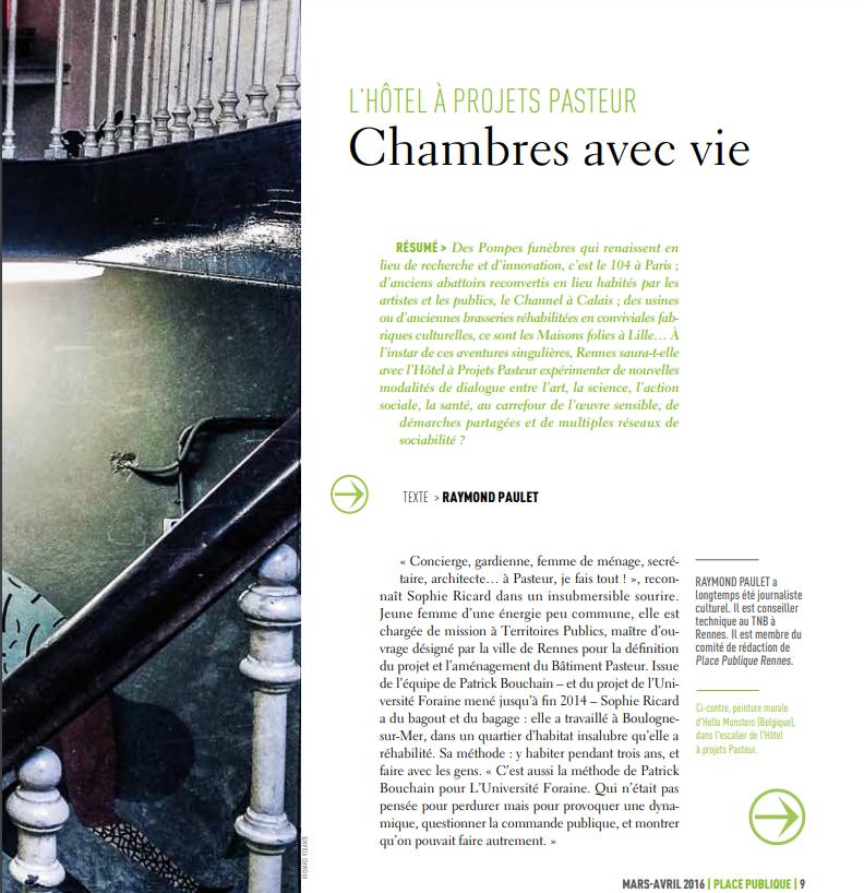 Reportage Hôtel à projets pasteur Rennes